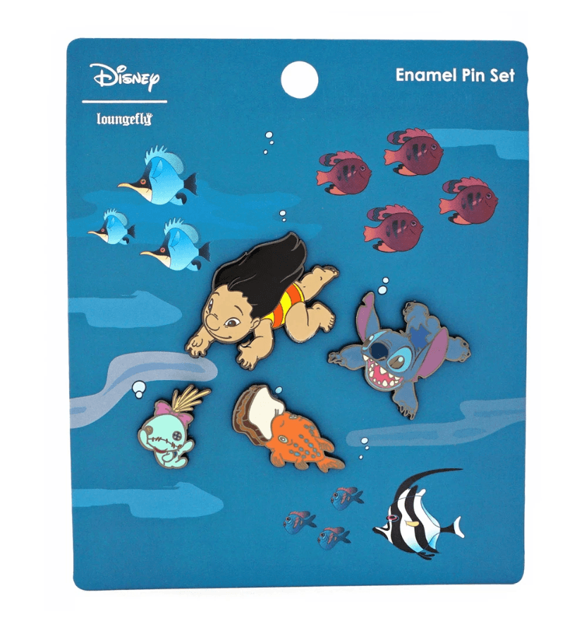 LOUNGEFLY x Disney Lilo And Stitch Hawaiian Roller Coaster Ride Pin Set