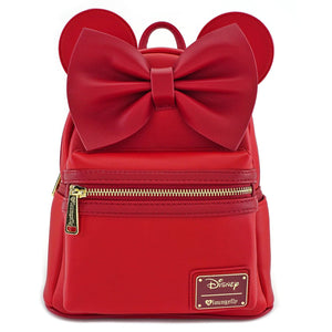 LOUNGEFLY Red Minnie Ears & Bow Red  Mini Backpack