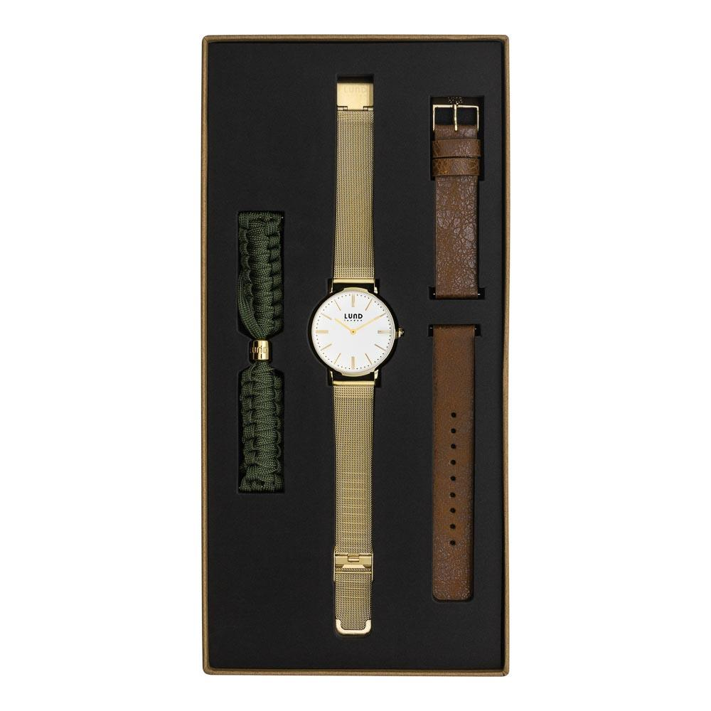 LUND LONDON Watch Set No 2 - Gold, Green & Brown