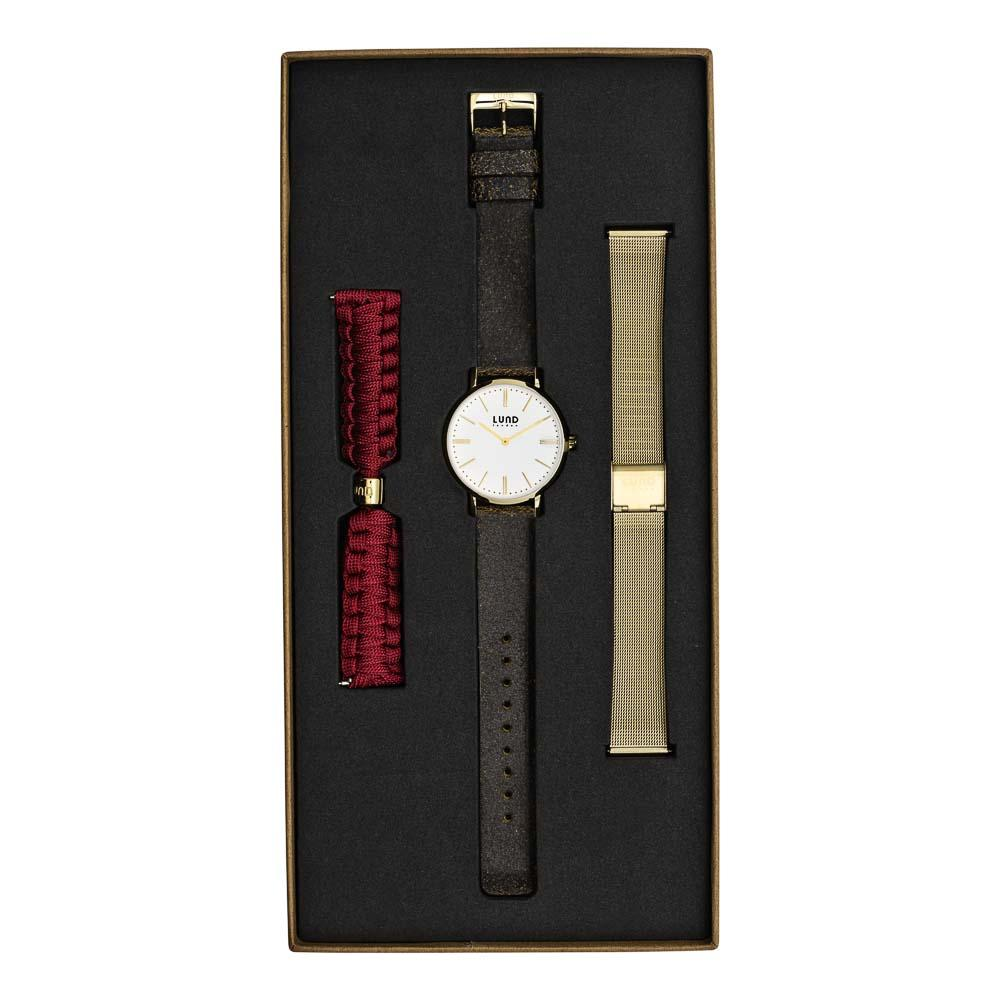 LUND LONDON Watch Set No 7 - Black Leather, Gold Mesh & Burgundy