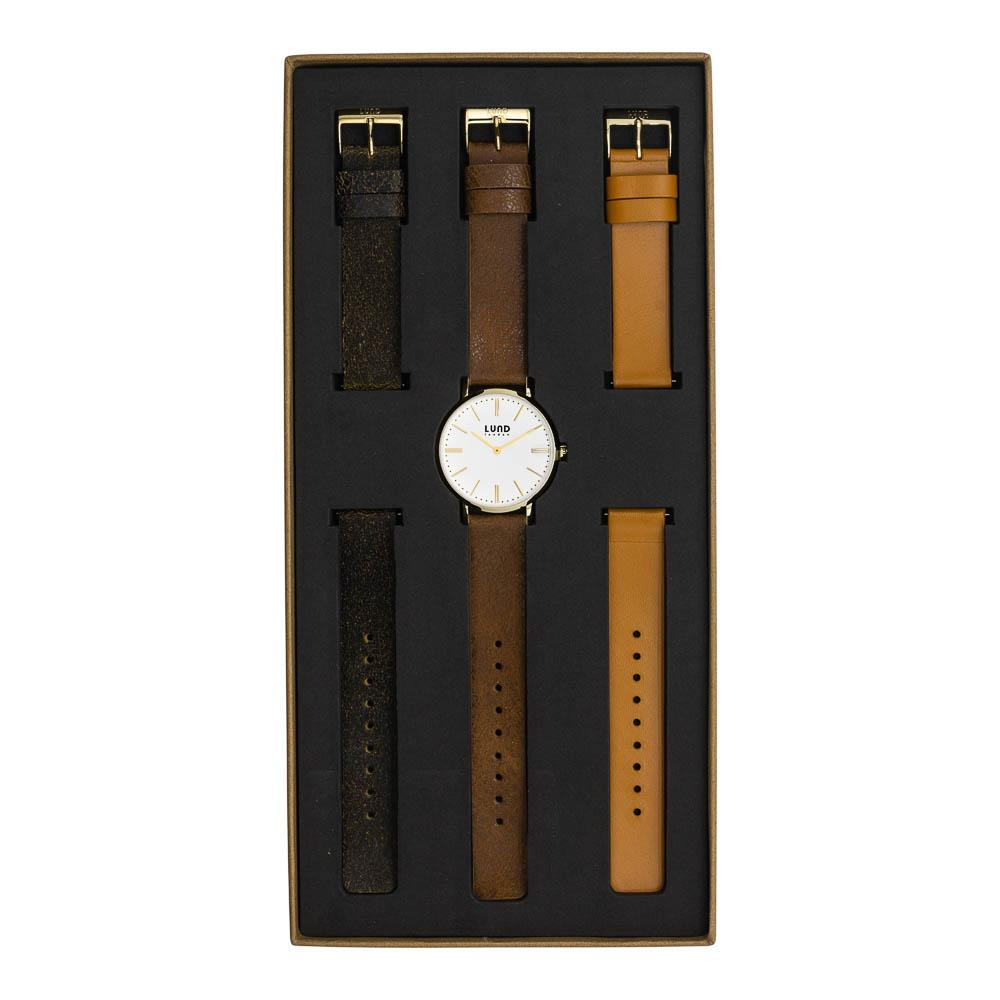 LUND LONDON Watch Set No 8 - Vintage Brown, Black & Tan Leather