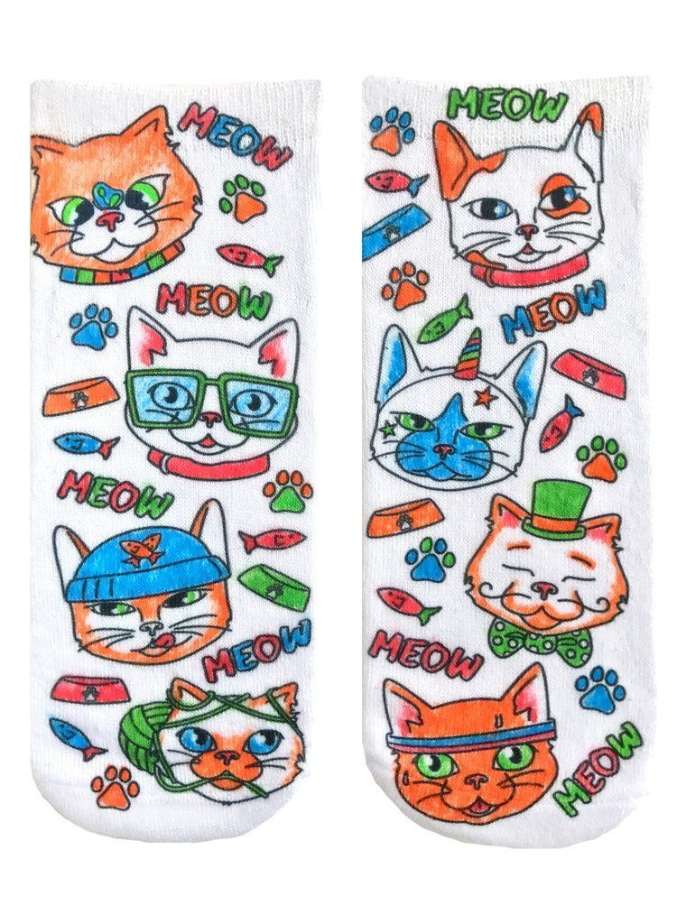 LIVING ROYAL Color-In Cat Vibes Ankle Socks