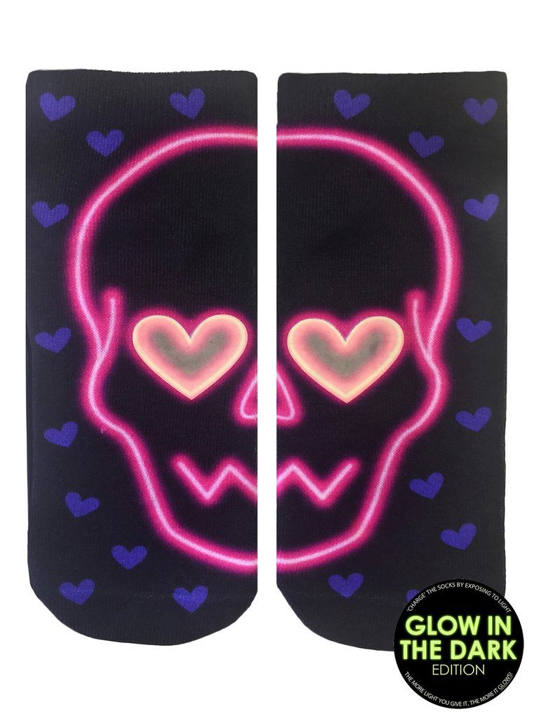LIVING ROYAL Skull Glow In The Dark Ankle Socks