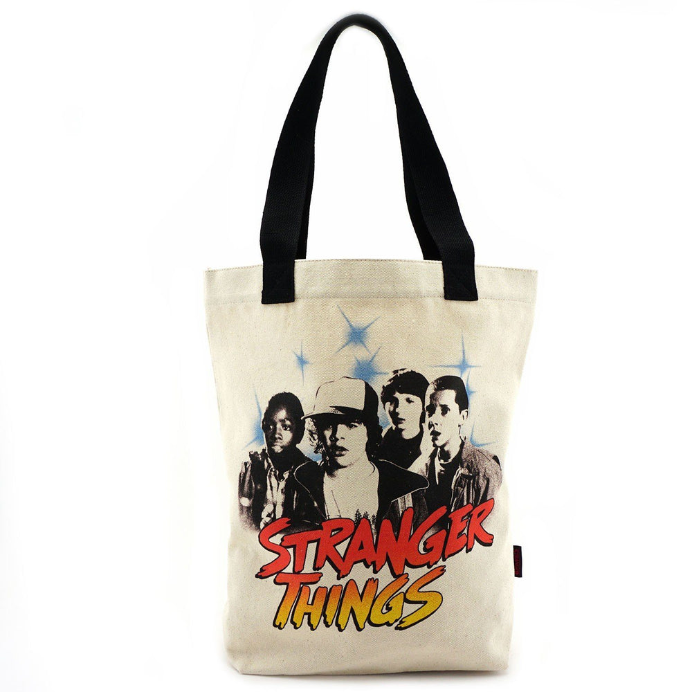 LOUNGEFLY Stranger Things Black & White Character Canvas Tote