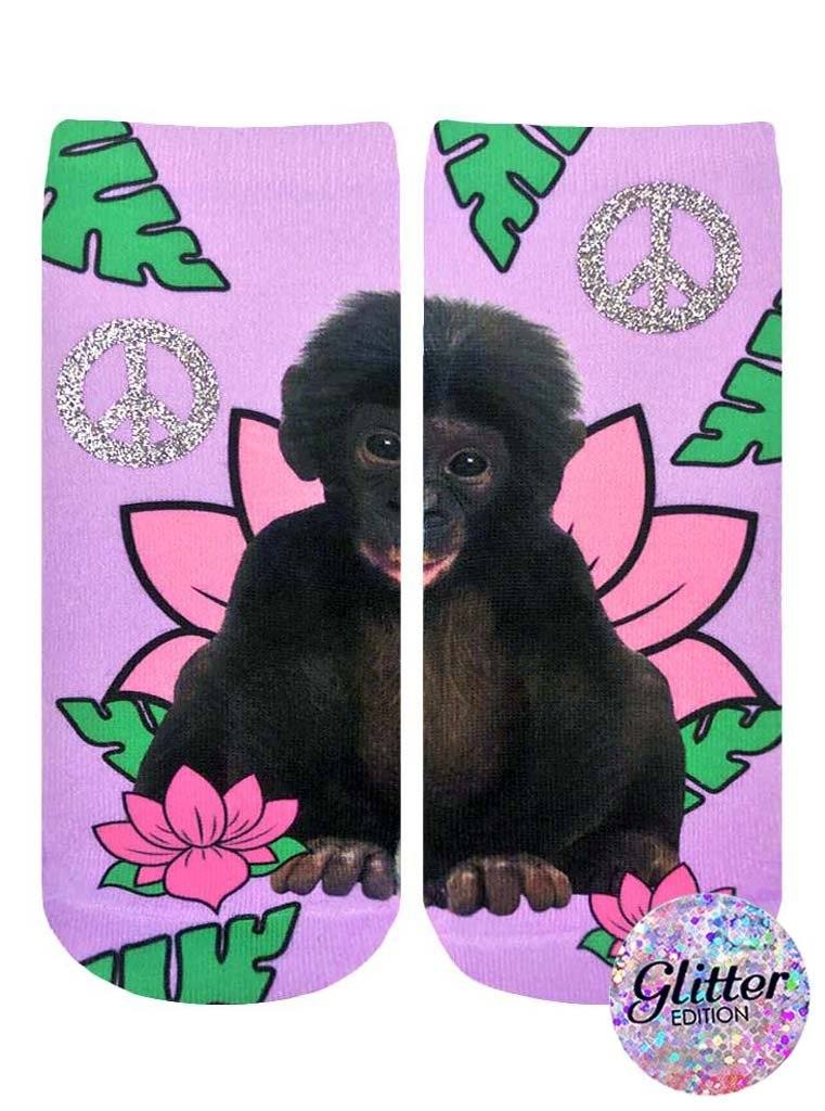 LIVING ROYAL Rainforest Monkey Glitter Socks