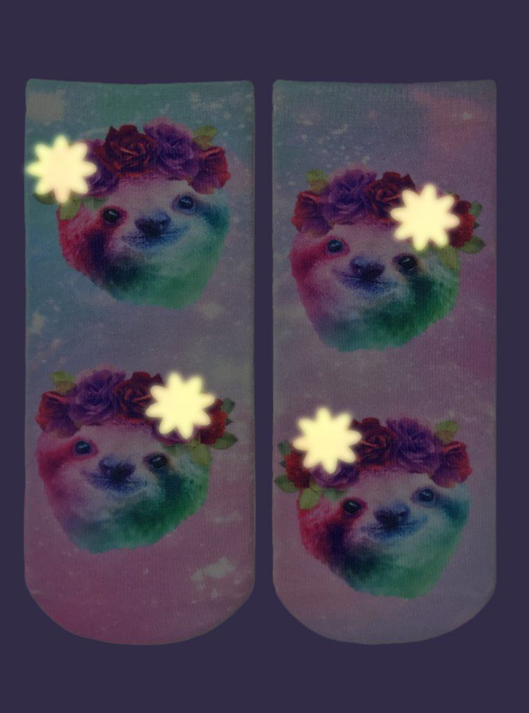 LIVING ROYAL Sloth Glow In The Dark Ankle Socks