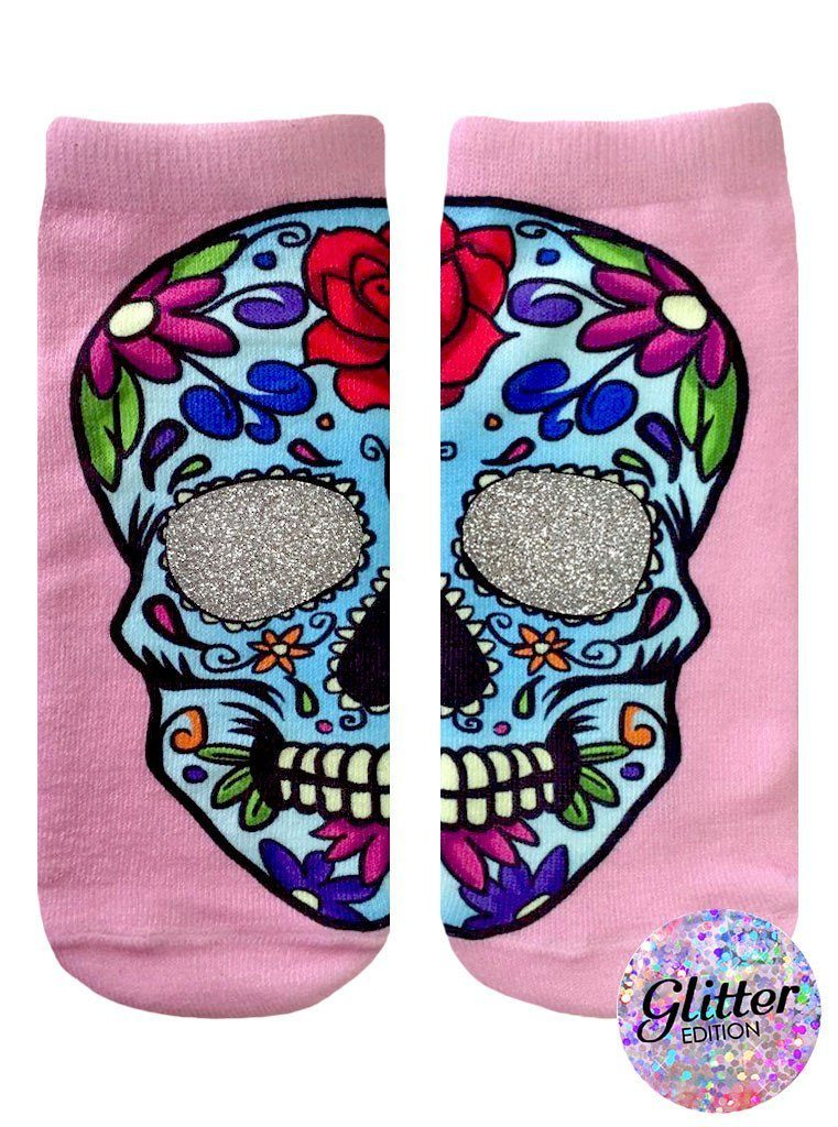 LIVING ROYAL Glitter Sugar Skull Ankle Socks