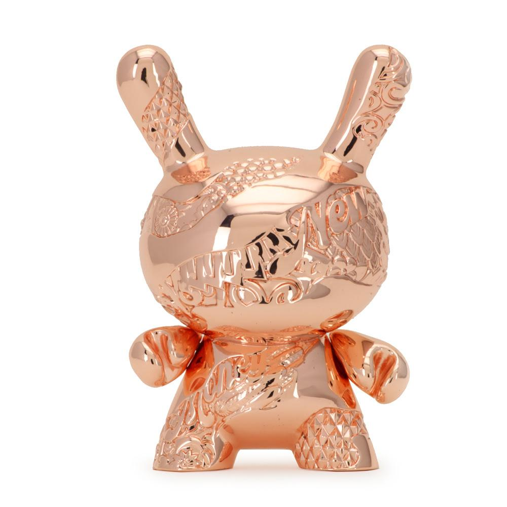 "KIDROBOT x Tristan Eaton -  5"" New Money Rose Gold Metal Dunny By Tristan Eaton"