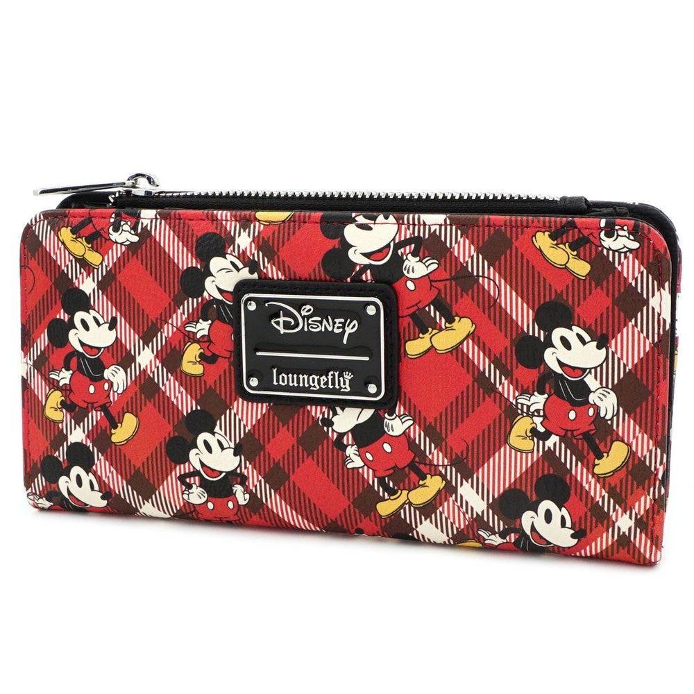 LOUNGEFLY x Disney Mickey Mouse Red Plaid Twill Bi-Fold Wallet