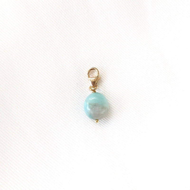 "Charm ""Amazonite"" plaqué or"