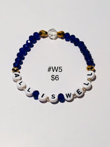 Various Zeta Phi Beta & blue unisex bracelets. Note: You will not be able to add to cart. Please contact me for ways to order.  Press 1st pic to reveal arrow or swipe to the right or upward to see more bracelets.
