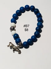 Load image into Gallery viewer, Various Zeta Phi Beta & blue unisex bracelets. Note: You will not be able to add to cart. Please contact me for ways to order.  Press 1st pic to reveal arrow or swipe to the right or upward to see more bracelets.