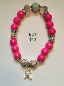 Various Breast Cancer Awareness. Note: You will not be able to add to cart. Please contact me for ways to order.  Press 1st pic to reveal arrow or swipe to the right or upward to see more bracelets.