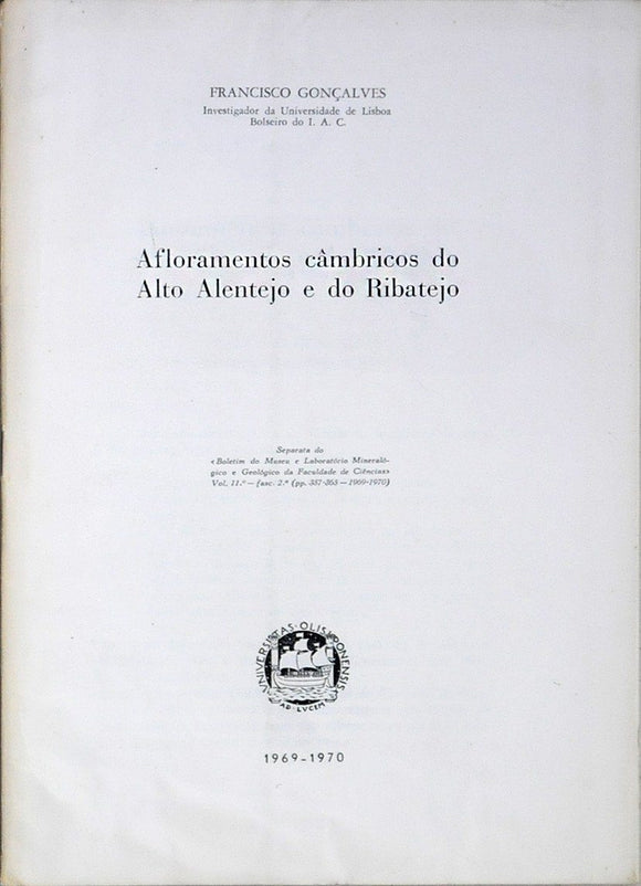 Livro - AFLORAMENTOS CÂMBRICOS DO ALTO ALENTEJO E DO RIBATEJO
