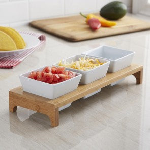 Bamboo Triple Dish Stand (White/Natural)