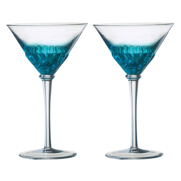 Set of 2 Solar Cocktail Glasses Blue