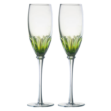 Set of 2 Solar Champagne Flutes Green