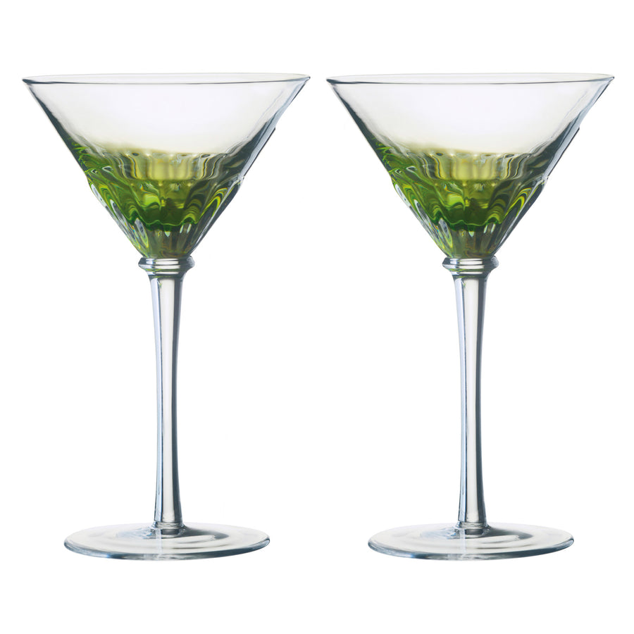 Set of 2 Solar Cocktail Glasses Green