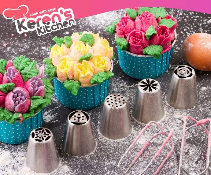 Russian Piping Nozzles Tips for Cupcake pastry Decoration, 55 Piece Set
