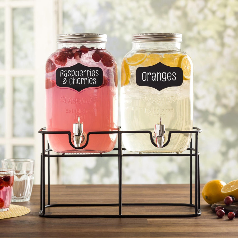 Old Tyme 'Chalkboard' Beverage Dispenser with Stand - Set of 2 (Clear/Black)