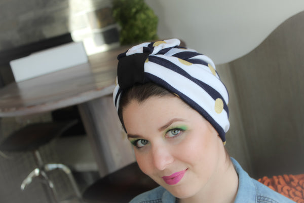 White and navy Turban