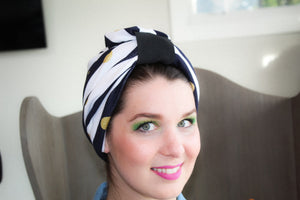 White and navy Turban SOLD OUT