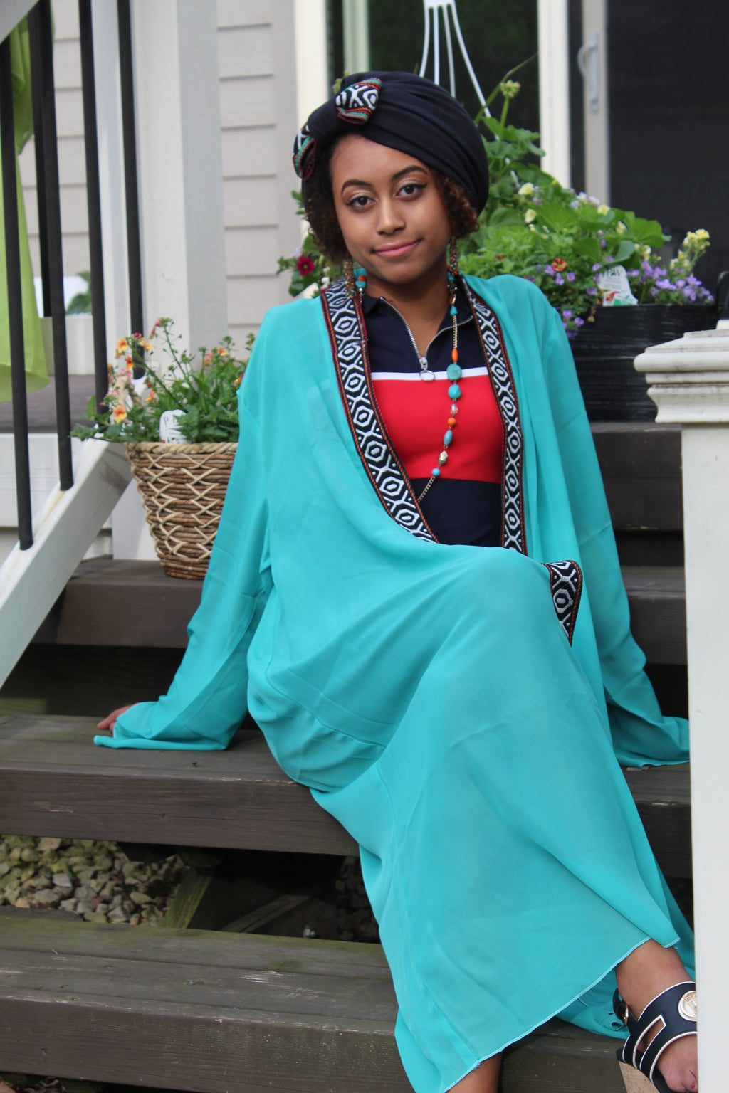 Short Cyan/Red traditional tunic