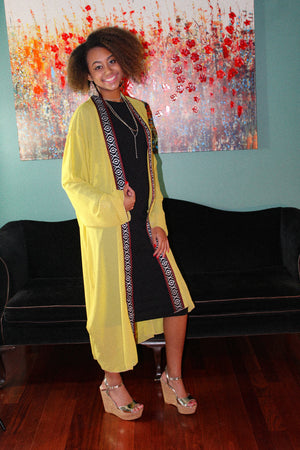 Short yellow mustard color Traditional Tunic/Abaya