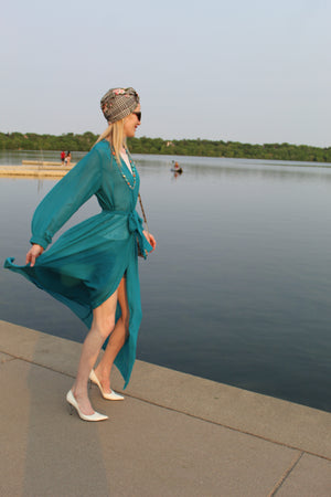 Teal blue summer dress