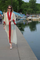 off white colored tunic/Abaya with red trim