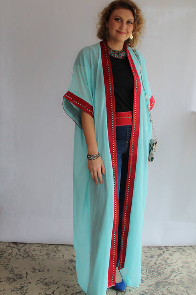 Short sleeve Turquoise & Red Tunic/Abaya SOLD OUT