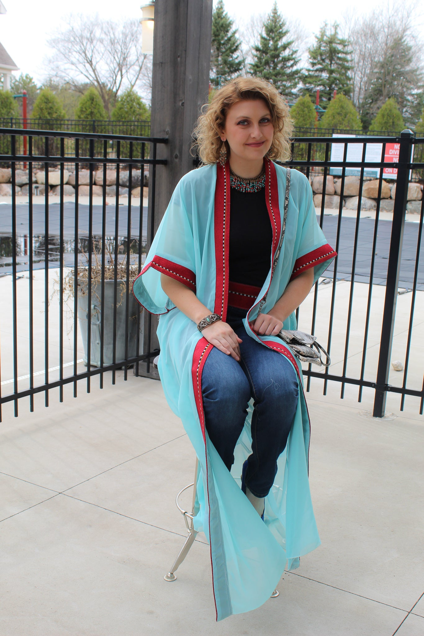 Short sleeve Turquoise & Red Tunic/Abaya