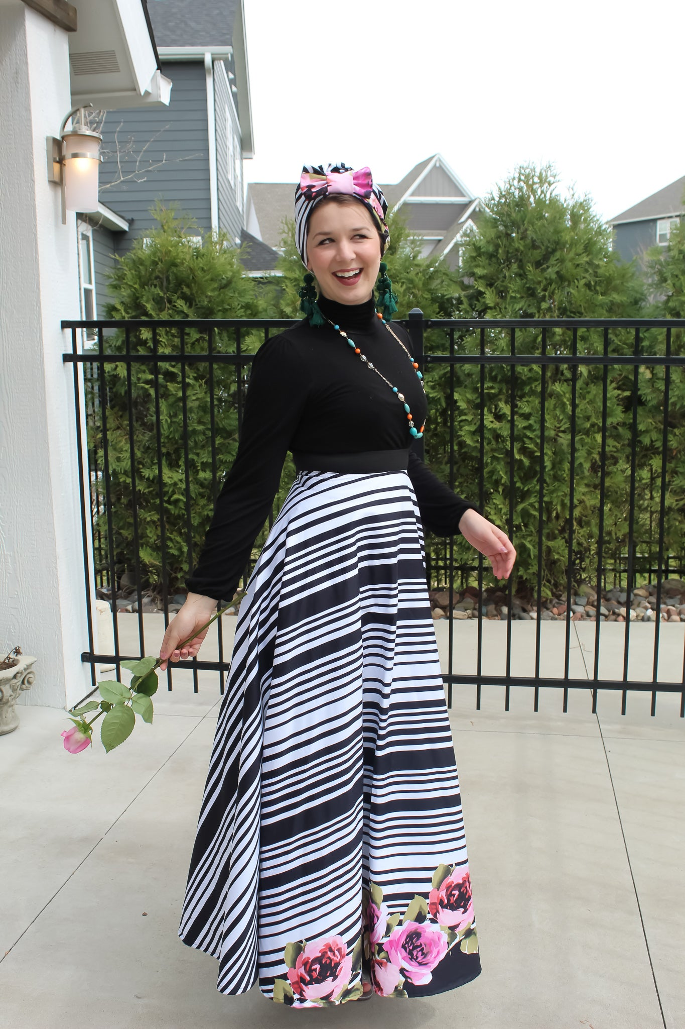 Striped Floral Skirt SOLD OUT