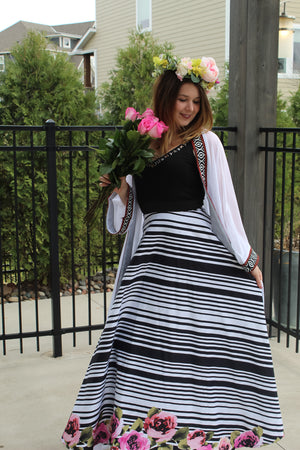 Striped Floral Skirt