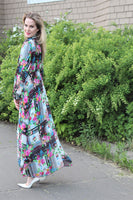 Tropical Black and white Floral dress