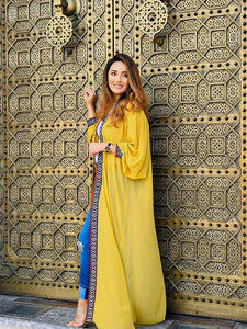long yellow mustard Tunic/abaya with a hoodie