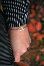 Load image into Gallery viewer, Eye bracelet 925 sterling silver handmade. Eye silver armband på en arm som bär en kappa