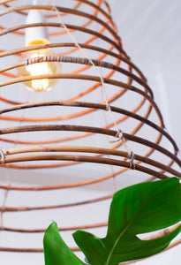 Wish lamp handcrafted in rattan, close-up