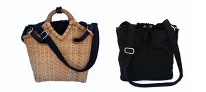 Pako bamboo bag and the Black bag in fabric. Two bags in one, can be used separately. Pako handmade bamboo bag and a black cloth bag a set of two bags where both can be used separately.