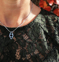 Load image into Gallery viewer, Eye pendant mini handmade in 925 sterling silver. Eye berlock i silver på ett silvehalsband