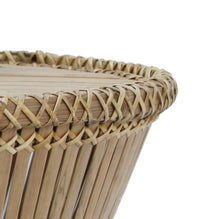 Load image into Gallery viewer, Close-up of handmade Pako table in bamboo and rattan. Närbild av Pako bord handgjort i bambu och rotting