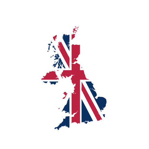 UK map silhouette with flag