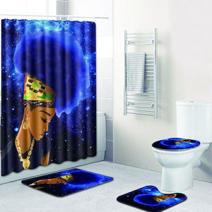 4 pc Afro black girl polyester shower curtain with bath mat set.