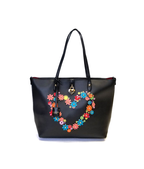 LEA TOP ZIPPER CLOSURE FLOWER PATCH TOTE