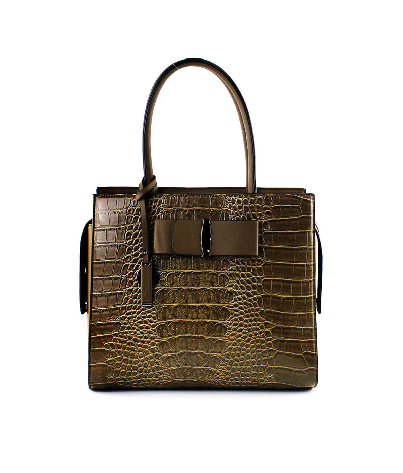 SCARLET RIBBON CROCODILE EMBOSS LARGE TOTE