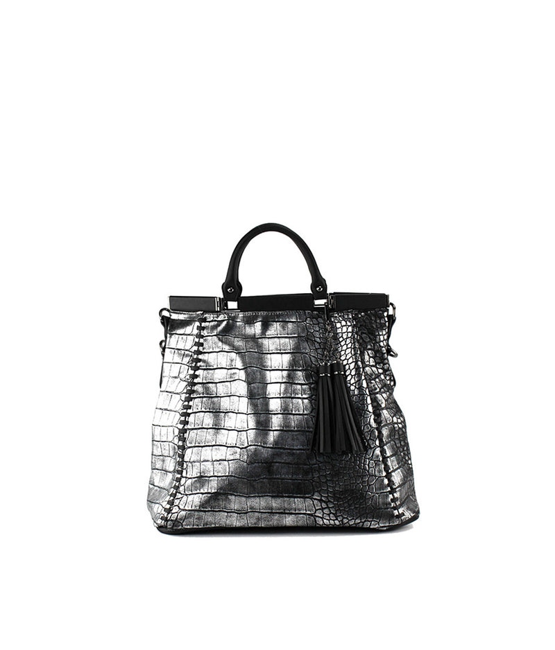 REMI EXOTIC SKIN TOP MAGNETIC CLOSURE TOTE