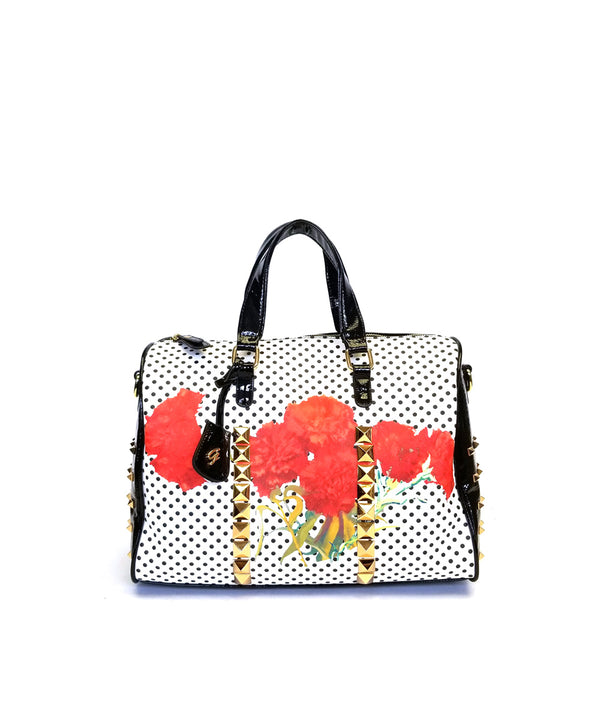 SKYE LASER CUT PYRAMID STUDS ROSE PATCH DUFFLE