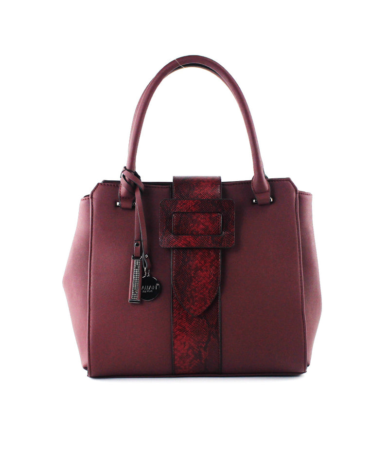 SCARLET EXOTIC BUCKLE SIDE SNAP MEDIUM SATCHEL