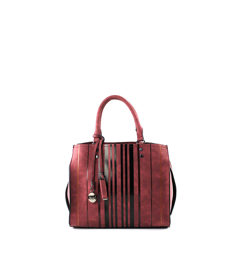 LADY VERTICAL STRIPE SATCHEL