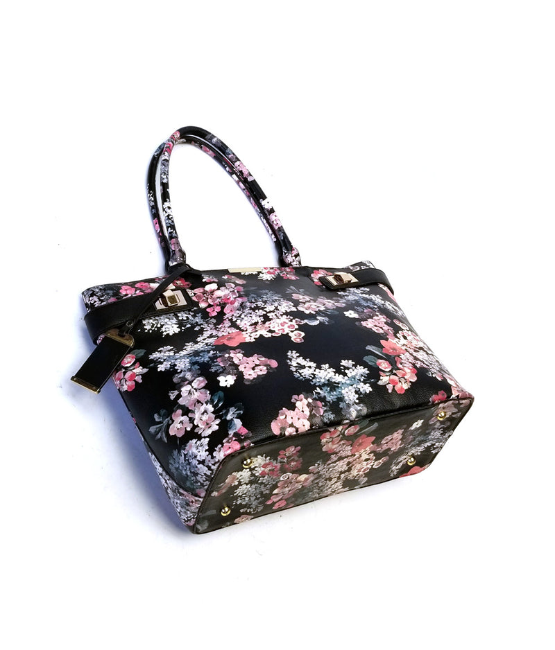 DAISY TOP MAGNETIC SNAP CLOSURE FLOWER PRINT TOTE